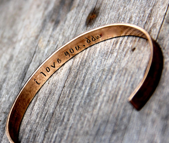 Custom Stamped Cuff Bracelet in Bronze or Aluminum with Secret Message