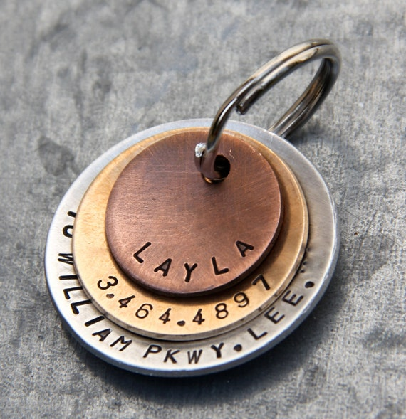 Custom Pet ID Tag - Layla - in Layered Mixed Metal (Copper, Bronze, Aluminum)