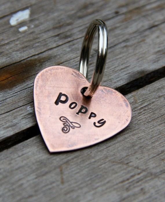 Custom Copper Heart Pet ID Tag - Ransom - in Weathered Copper