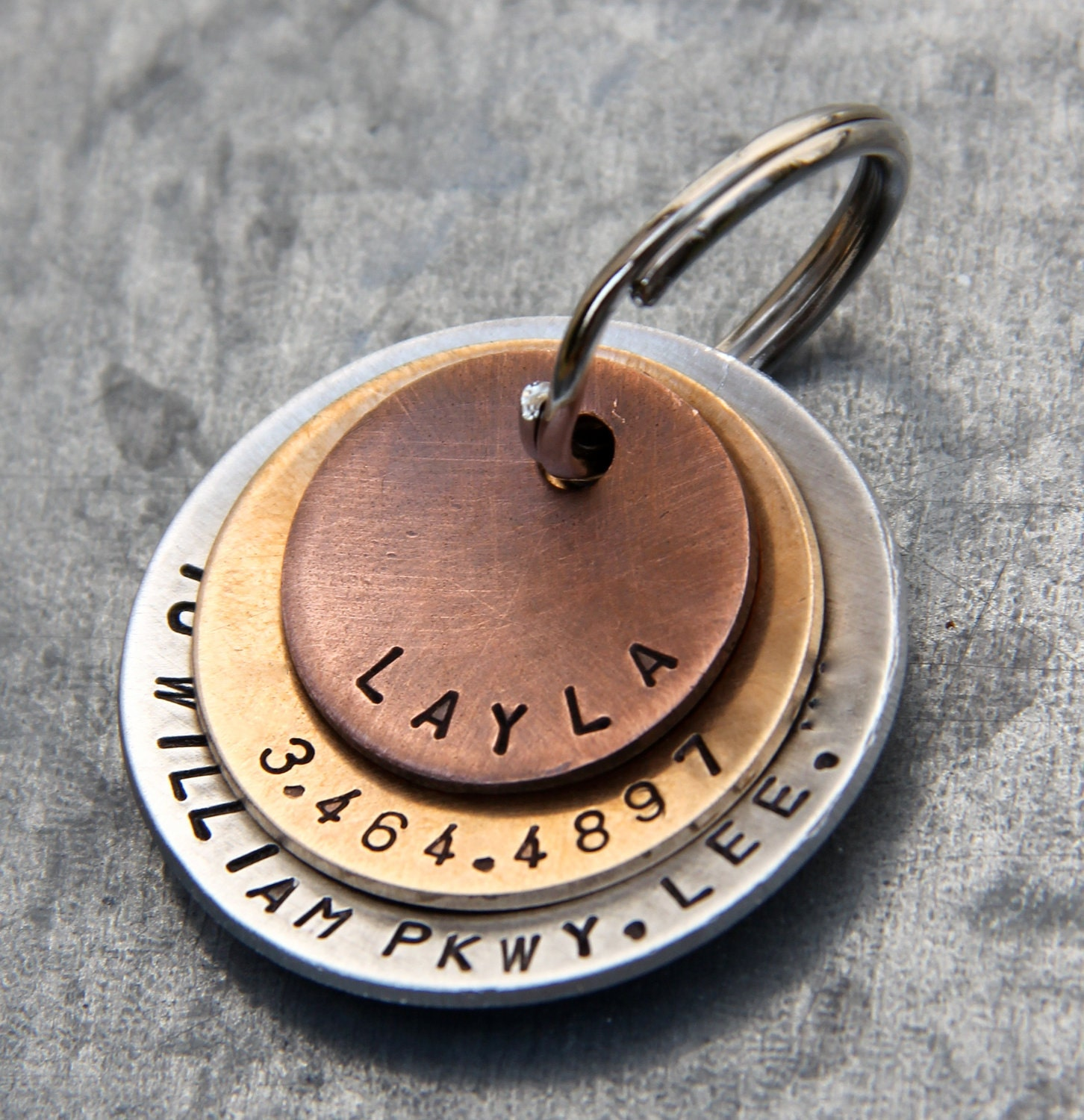custom pet id tag layla in layered mixed metal copper. Black Bedroom Furniture Sets. Home Design Ideas