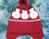 Burgundy Winter Hat with Snowflakes...SIZE 3-10 YRS.  Clearance item