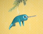 Limited Edition Narwhal Ornament, Magical Teal