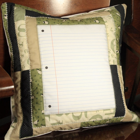 Counting Sheep- Notebook design-Quilted 16x16 pillow cover