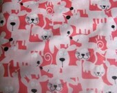 Pink Dog, Cat, Mouse Fabric
