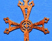 Wood Armenian Cross Necklace with Leather Cord