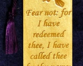 Wood Scripture Bookmark - Isaiah 43:1 with Dove