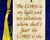 Wood Scripture Bookmark - Psalm 27:1 wih Calvary