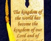 Wood Scripture Bookmark - Revelation 11:15b wih Leaf Cross