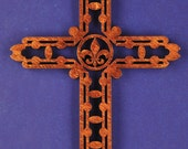 Small Wood Fleur-de-Lis Cross