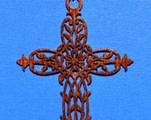 Wood Leaf Cross with Leather Cord