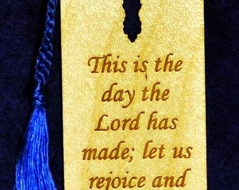 Wood Scripture Bookmark - Psalm 118:24 with Leaf Cross