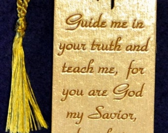 Wood Scripture Bookmark - Psalm 25:5 with Calvary
