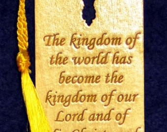 Wood Scripture Bookmark - Revelation 11:15b wih Leaf Cross