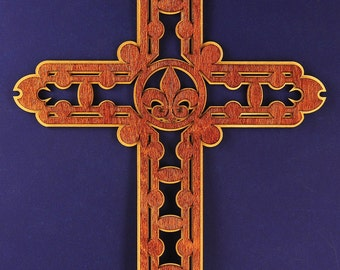 Large Fleur-de-Lis Wood Cross with Halo
