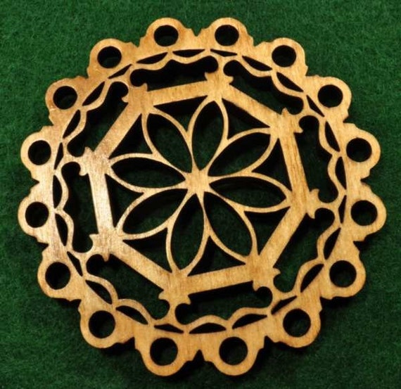 Wood Flower Snowflake Ornament