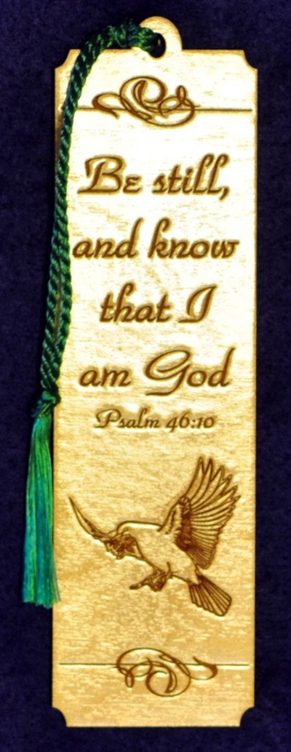 Wood Scripture Bookmark - Psalm 46:10 with Dove