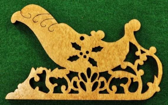 Wood Sleigh Ornament
