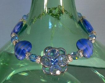 Swarovski Crystal Flower and Lapis Bracelet