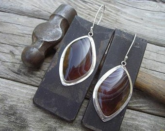 Sterling silver earrings with Botswana agate