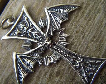 Vampire bat cross pendant in sterling silver
