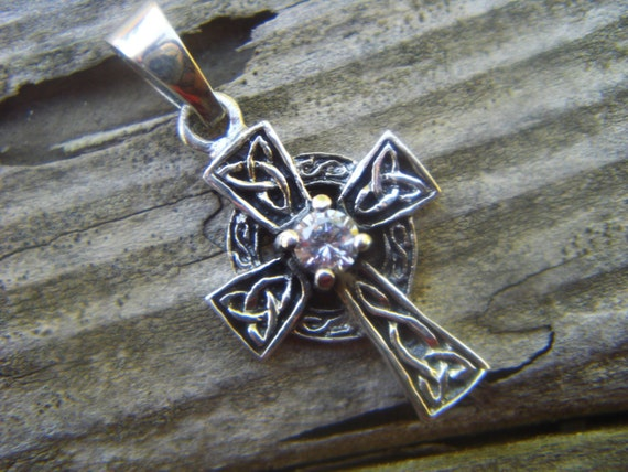 Celtic cross in sterling silver with CZ