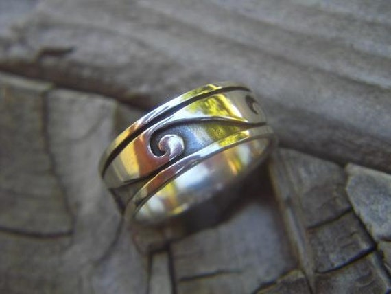The wave ring in sterling silver