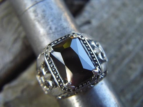 Medieval ring with a black cz stone