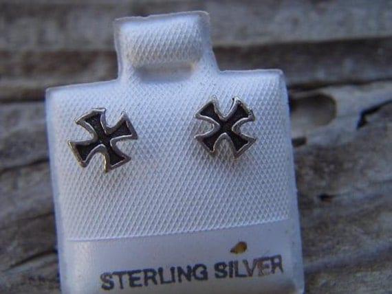 Iron cross earrings in sterling silver