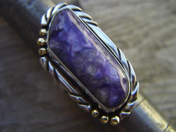 Russian charoite ring in sterling silver
