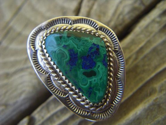 Sterling silver ring with a malachite and azurite stone