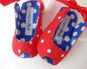 Red, white, and blue baby girl shoes peep toe patriotic sandals July 4th- Dotted Charm