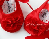 Red baby shoes girls red Christmas shoes toddler girls shoes holiday baby shoes soft soled shoes handmade baby shoes - Runway Red