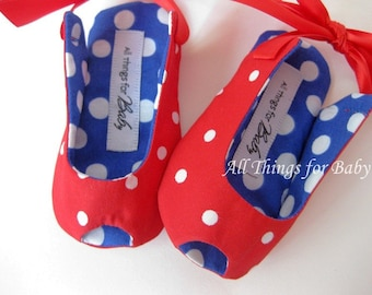 Red, white, and blue baby girl shoes girls sandals toddler girls shoes patriotic baby shoes 4th of July girls red shoes - Dotted Charm