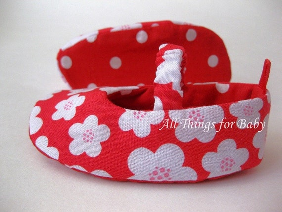 SALE 50% OFF Baby girl shoes red floral mary jane ballet flats- Really Red