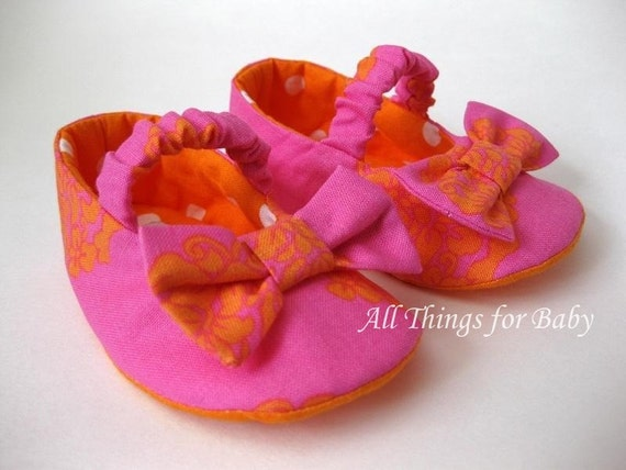 Baby girl shoes orange and pink ballet flat mary janes- Citrus Summer