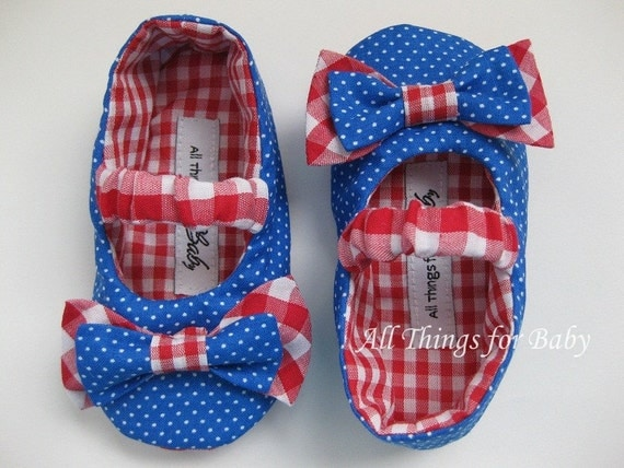SALE 50% 0FF Red, white and blue baby girl shoes- Life's a Picnic