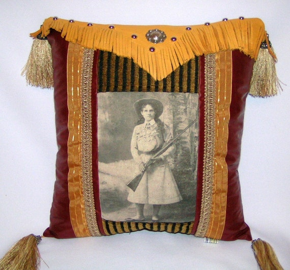 Decorative Western Throw Pillows : Western Decorative Leather PILLOW of ANNIE OAKLEY with concho