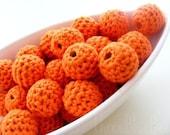 Organic Orange Crochet Beads 12 Pieces