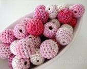 Organic Crocheted Pink White Beads 12 Pcs