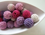 All Natural Raspberry Crocheted Beads 12 Pieces