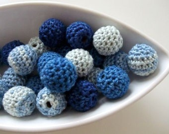All Natural Indigo Crocheted Beads 12 Pieces