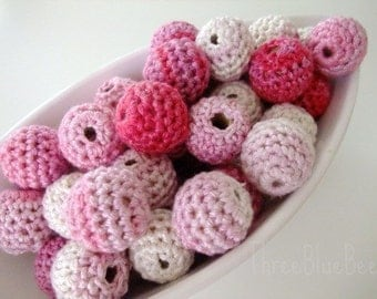 Organic Crocheted Pink White Beads 12 Pcs