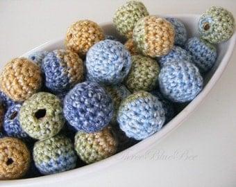 Crocheted Beads 12 Pcs Autumn Lake