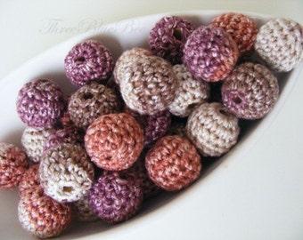 Crocheted Berry Beads 12 Pcs