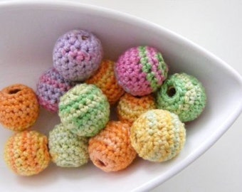 Organic Crocheted Summer Beads 12 Pcs