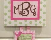 CUSTOM BIRTH ANNOUNCEMENT - baby girl /hospital door hanger
