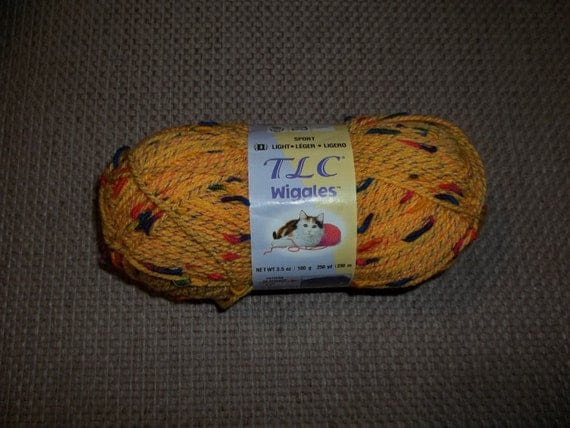 5 skeins TLC Wiggles Yellow Sport Weight Yarn