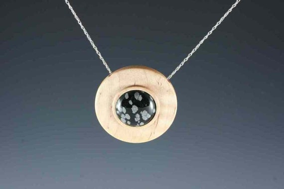 Pendant of Snowflake Obsidian on Curly Maple on 20 inch sterling chain (RR 2142)
