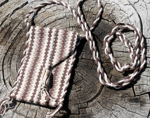 Boho Hippie Pouch Brown Cream Hand Woven Small
