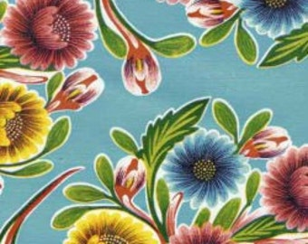 Blooms on Light Blue OilCloth Yardage
